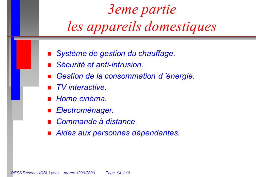 DESS Réseau UCBL Lyon1 promo 1999/2000 Page: 14 / 19 3eme partie les appareils domestiques n Système de gestion du chauffage. n Sécurité et anti-intru