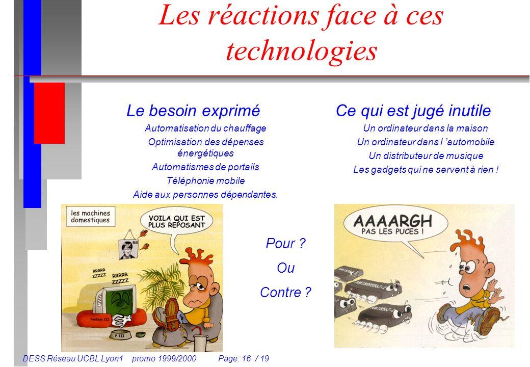 DESS Réseau UCBL Lyon1 promo 1999/2000 Page: 16 / 19 Les réactions face à ces technologies Le besoin exprimé Automatisation du chauffage Optimisation des dépenses énergétiques Automatismes de portails Téléphonie mobile Aide aux personnes dépendantes.