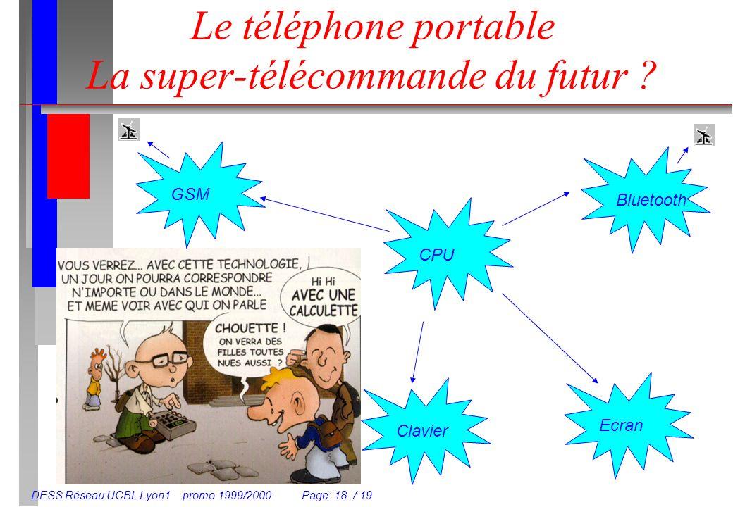 DESS Réseau UCBL Lyon1 promo 1999/2000 Page: 18 / 19 Le téléphone portable La super-télécommande du futur ? Clavier Ecran GSM Bluetooth CPU