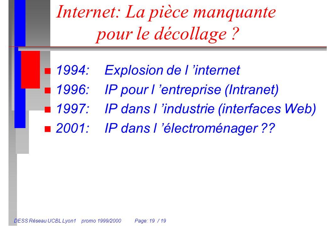 DESS Réseau UCBL Lyon1 promo 1999/2000 Page: 19 / 19 Internet: La pièce manquante pour le décollage ? n 1994:Explosion de l internet n 1996:IP pour l