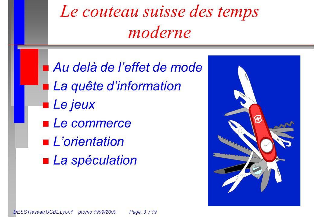 DESS Réseau UCBL Lyon1 promo 1999/2000 Page: 3 / 19 Le couteau suisse des temps moderne n Au delà de leffet de mode n La quête dinformation n Le jeux
