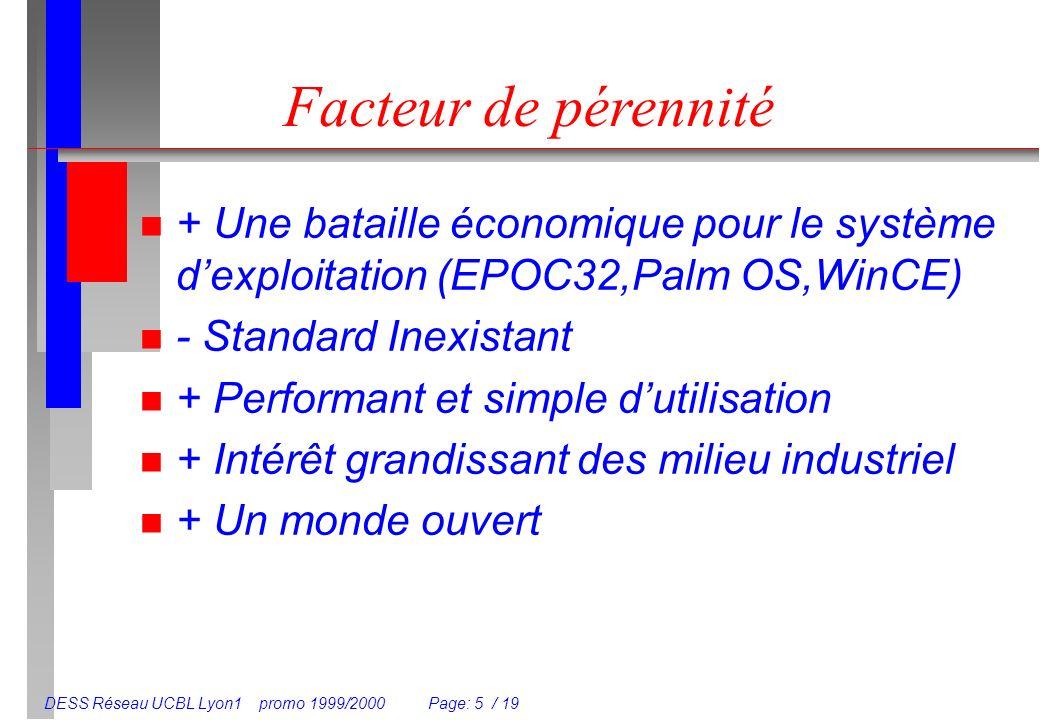 DESS Réseau UCBL Lyon1 promo 1999/2000 Page: 5 / 19 Facteur de pérennité n + Une bataille économique pour le système dexploitation (EPOC32,Palm OS,WinCE) n - Standard Inexistant n + Performant et simple dutilisation n + Intérêt grandissant des milieu industriel n + Un monde ouvert