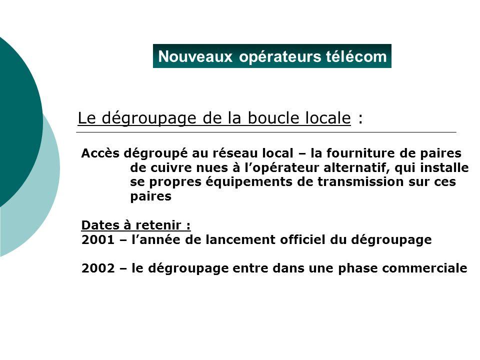Nouveaux opérateurs télécom Accès dégroupé au réseau local – la fourniture de paires de cuivre nues à lopérateur alternatif, qui installe se propres é