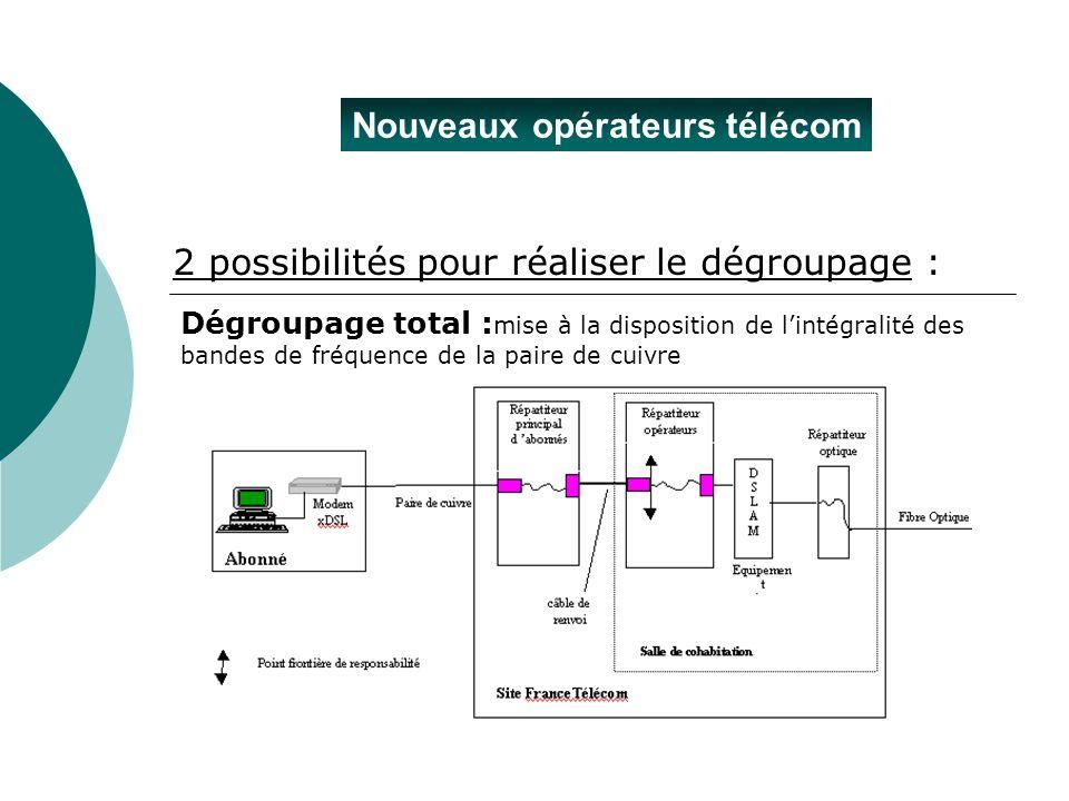 Nouveaux opérateurs télécom Dégroupage total : mise à la disposition de lintégralité des bandes de fréquence de la paire de cuivre 2 possibilités pour