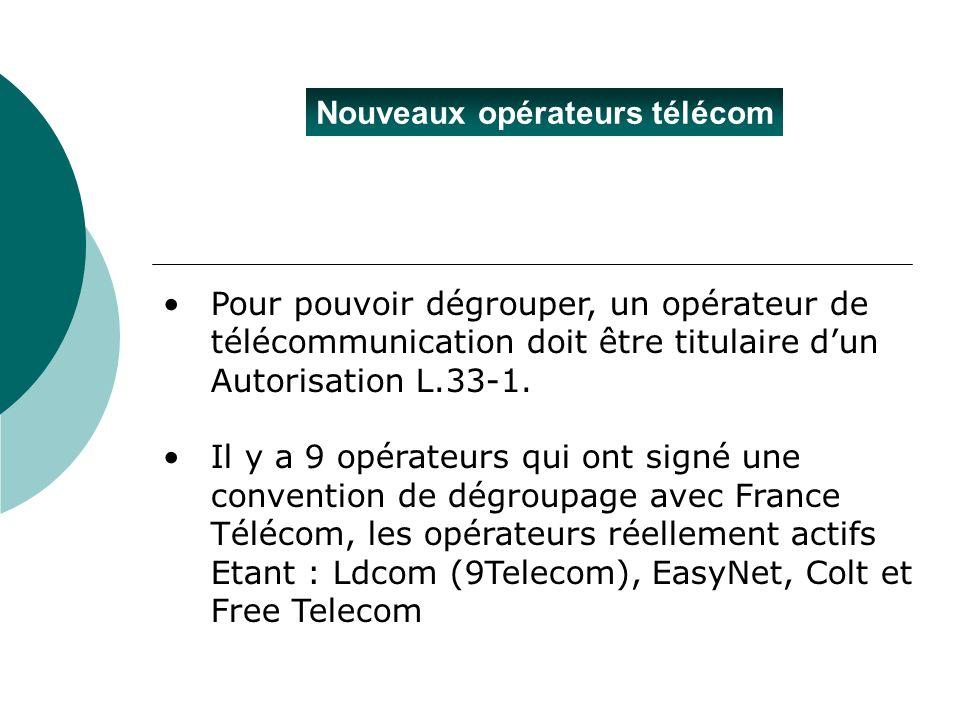 Nouveaux opérateurs télécom Pour pouvoir dégrouper, un opérateur de télécommunication doit être titulaire dun Autorisation L.33-1. Il y a 9 opérateurs