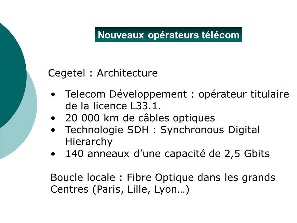 Nouveaux opérateurs télécom Cegetel : Architecture Telecom Développement : opérateur titulaire de la licence L33.1. 20 000 km de câbles optiques Techn