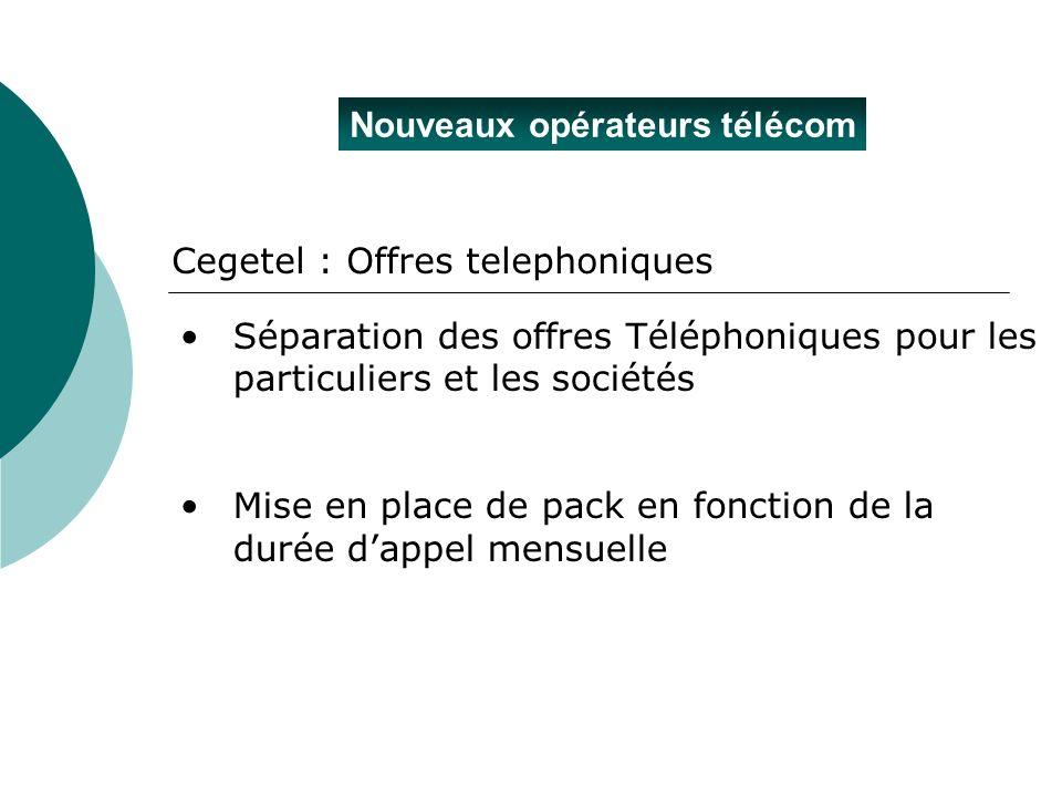 Nouveaux opérateurs télécom Cegetel : Offres telephoniques Séparation des offres Téléphoniques pour les particuliers et les sociétés Mise en place de