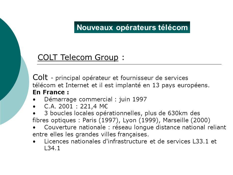 Nouveaux opérateurs télécom Colt - principal opérateur et fournisseur de services télécom et Internet et il est implanté en 13 pays européens. En Fran