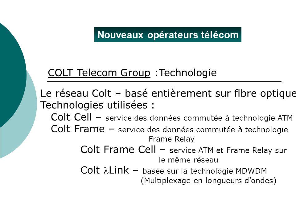 Nouveaux opérateurs télécom COLT Telecom Group :Technologie Le réseau Colt – basé entièrement sur fibre optique Technologies utilisées : Colt Cell – s
