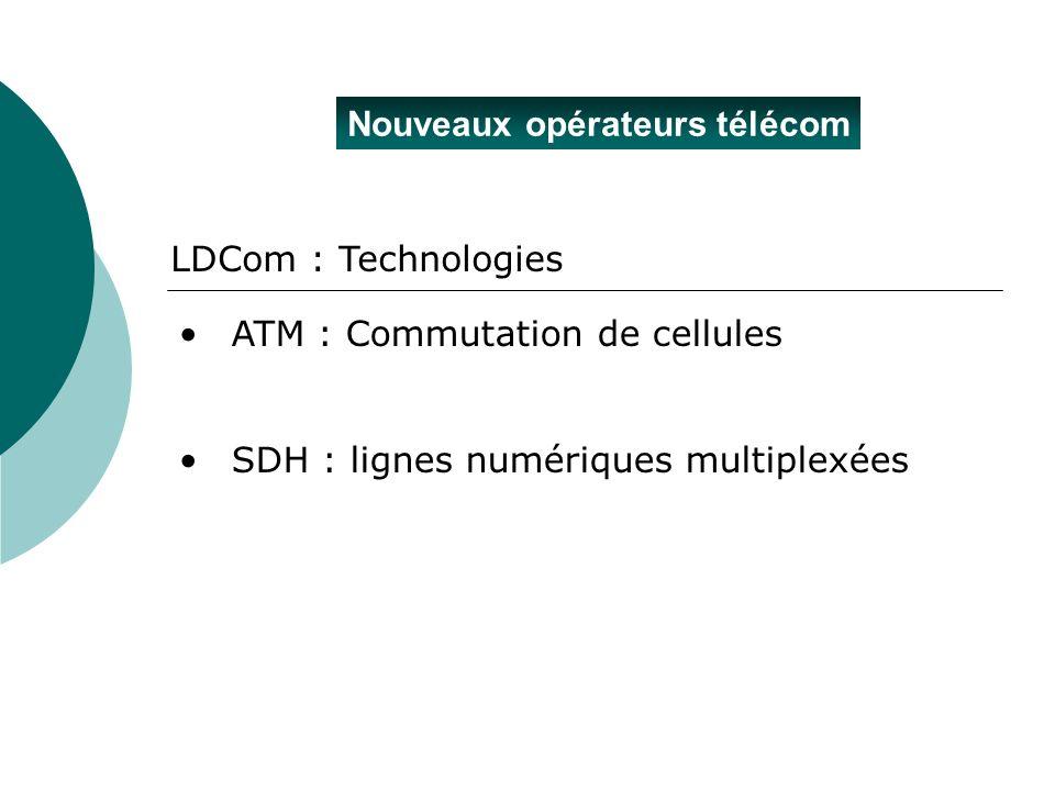 Nouveaux opérateurs télécom ATM : Commutation de cellules SDH : lignes numériques multiplexées LDCom : Technologies