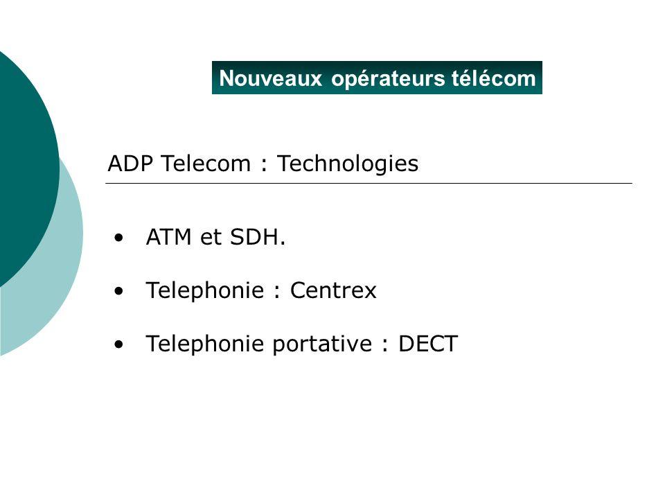Nouveaux opérateurs télécom ATM et SDH. Telephonie : Centrex Telephonie portative : DECT ADP Telecom : Technologies