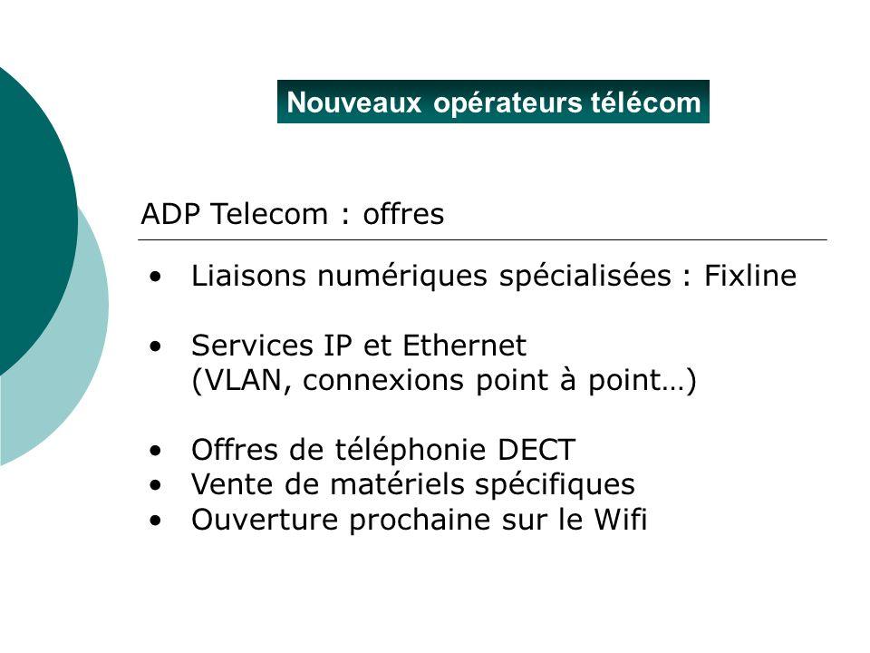 Nouveaux opérateurs télécom ADP Telecom : offres Liaisons numériques spécialisées : Fixline Services IP et Ethernet (VLAN, connexions point à point…)