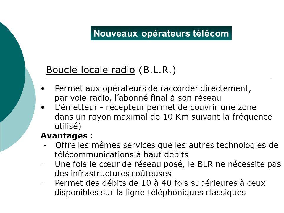 Nouveaux opérateurs télécom Permet aux opérateurs de raccorder directement, par voie radio, labonné final à son réseau Lémetteur - récepteur permet de
