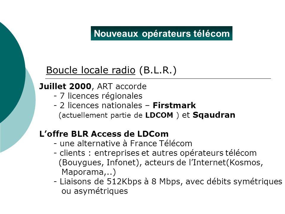 Nouveaux opérateurs télécom Juillet 2000, ART accorde - 7 licences régionales - 2 licences nationales – Firstmark (actuellement partie de LDCOM ) et S