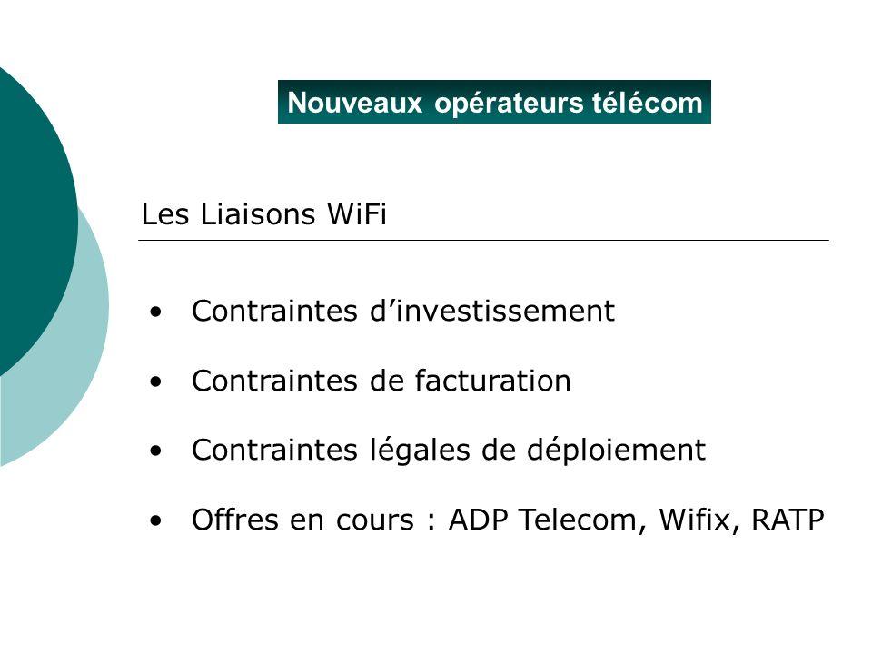 Nouveaux opérateurs télécom Les Liaisons WiFi Contraintes dinvestissement Contraintes de facturation Contraintes légales de déploiement Offres en cour