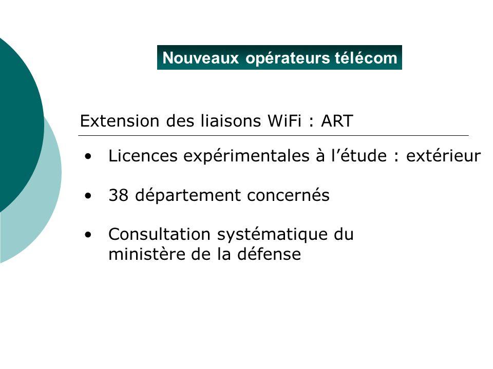 Nouveaux opérateurs télécom Extension des liaisons WiFi : ART Licences expérimentales à létude : extérieur 38 département concernés Consultation systé