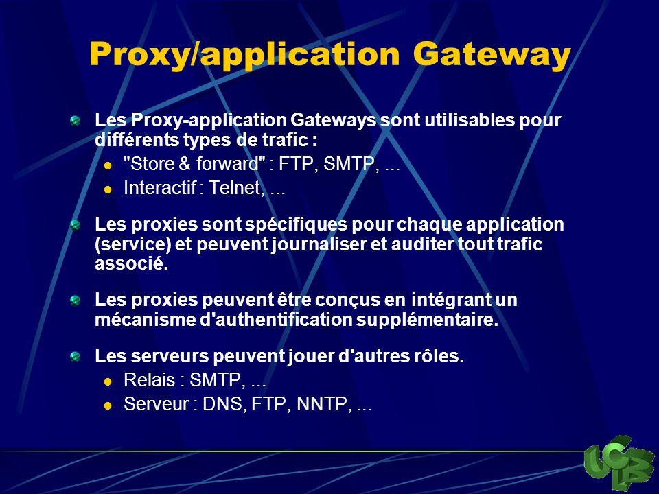 Proxy/application Gateway Les Proxy-application Gateways sont utilisables pour différents types de trafic : Store & forward : FTP, SMTP,...
