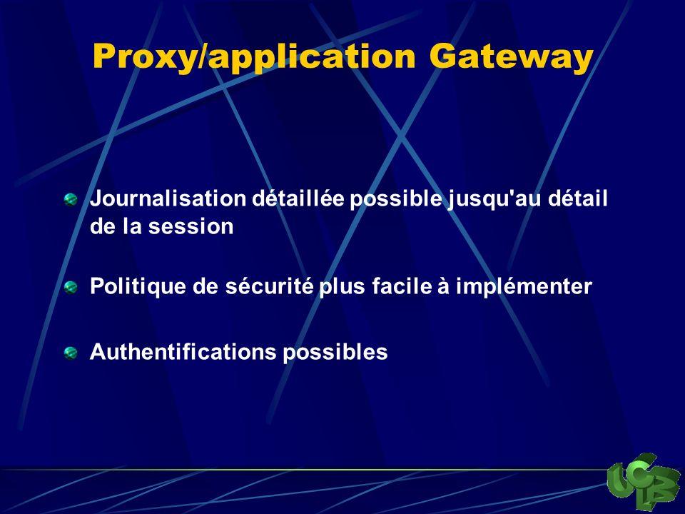Proxy/application Gateway Journalisation détaillée possible jusqu au détail de la session Politique de sécurité plus facile à implémenter Authentifications possibles