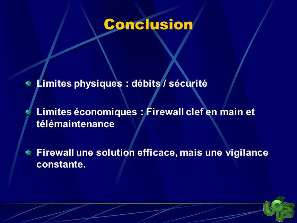Conclusion Limites physiques : débits / sécurité Limites économiques : Firewall clef en main et télémaintenance Firewall une solution efficace, mais une vigilance constante.