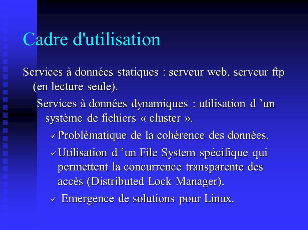 Cadre d'utilisation Services à données statiques : serveur web, serveur ftp (en lecture seule). Services à données dynamiques : utilisation d un systè