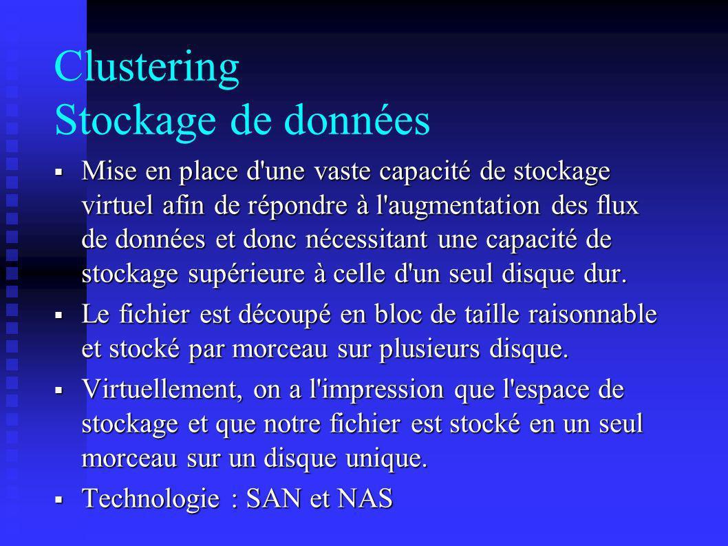 Clustering Stockage de données Mise en place d'une vaste capacité de stockage virtuel afin de répondre à l'augmentation des flux de données et donc né