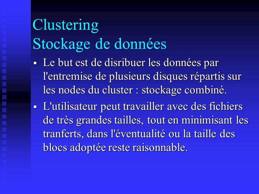 Clustering Stockage de données Le but est de disribuer les données par l'entremise de plusieurs disques répartis sur les nodes du cluster : stockage c
