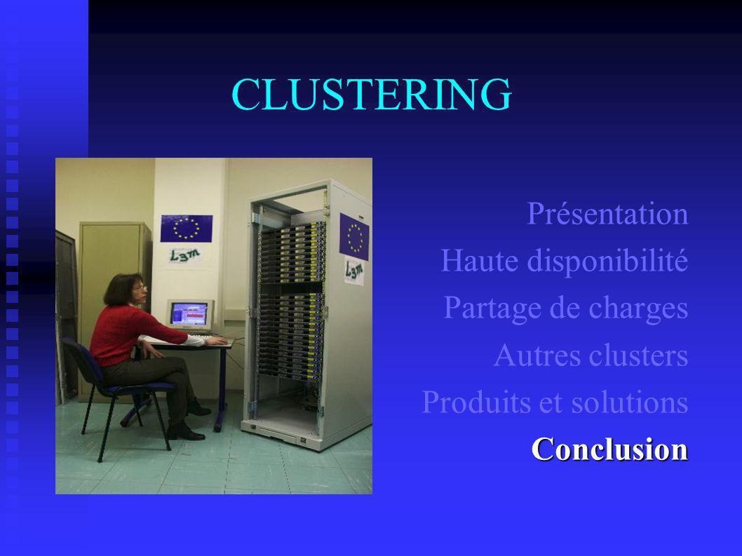 CLUSTERING Présentation Haute disponibilité Partage de charges Autres clusters Produits et solutionsConclusion