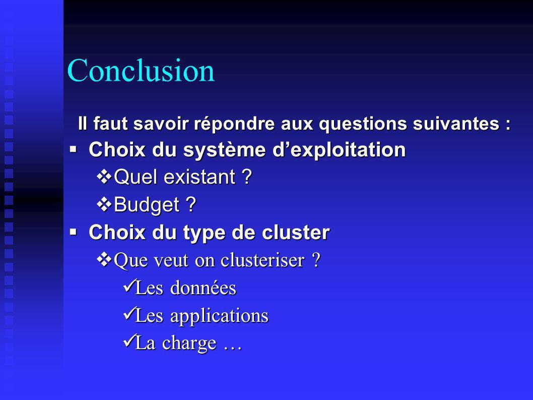 Conclusion Il faut savoir répondre aux questions suivantes : Choix du système dexploitation Choix du système dexploitation Quel existant ? Quel exista
