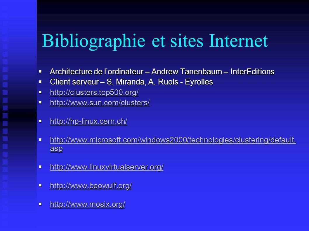 Bibliographie et sites Internet Architecture de lordinateur – Andrew Tanenbaum – InterEditions Architecture de lordinateur – Andrew Tanenbaum – InterE