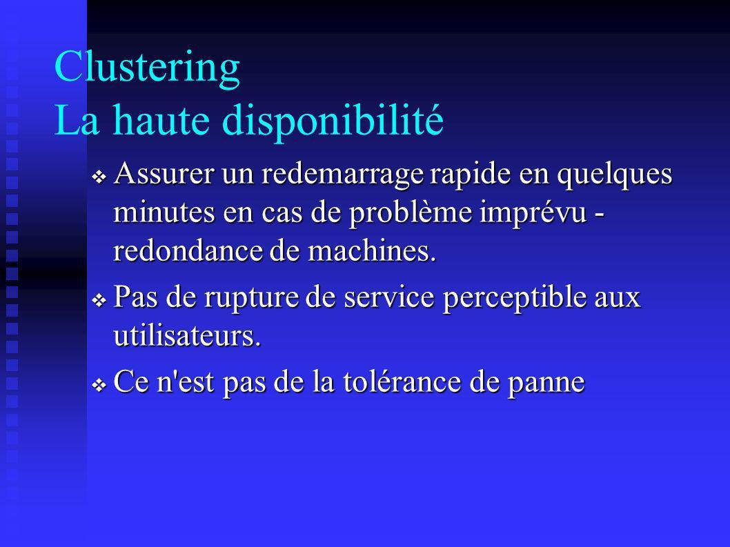Clustering La haute disponibilité Assurer un redemarrage rapide en quelques minutes en cas de problème imprévu - redondance de machines. Assurer un re