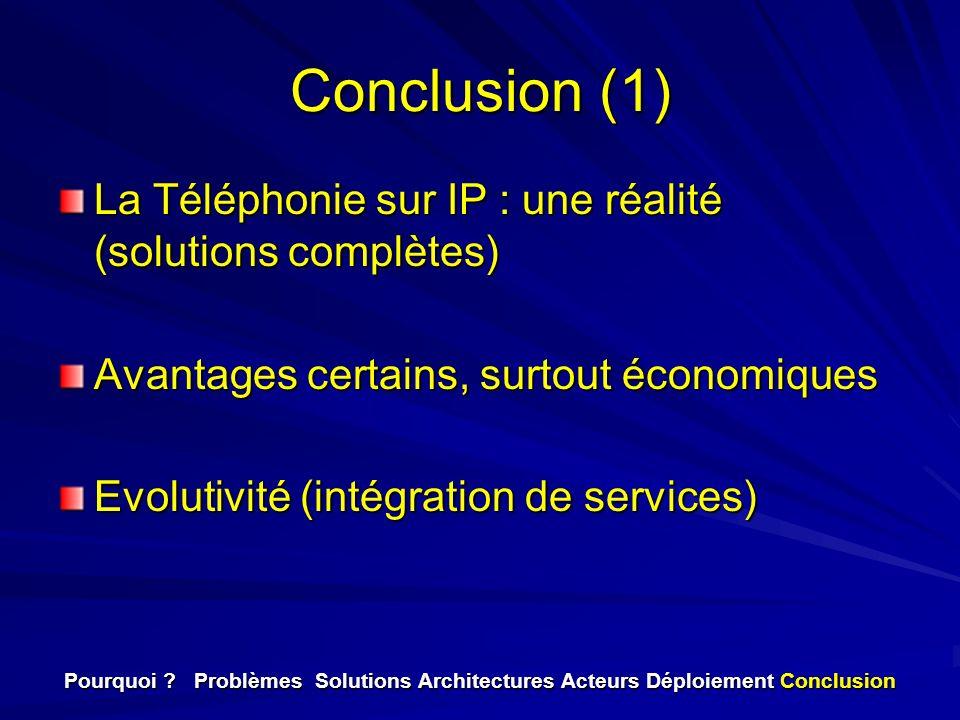 Conclusion (1) La Téléphonie sur IP : une réalité (solutions complètes) Avantages certains, surtout économiques Evolutivité (intégration de services)