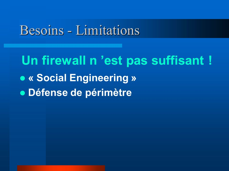 Références http://www.icsa.net Marcus J. Ranum, « Thinking about Firewalls »