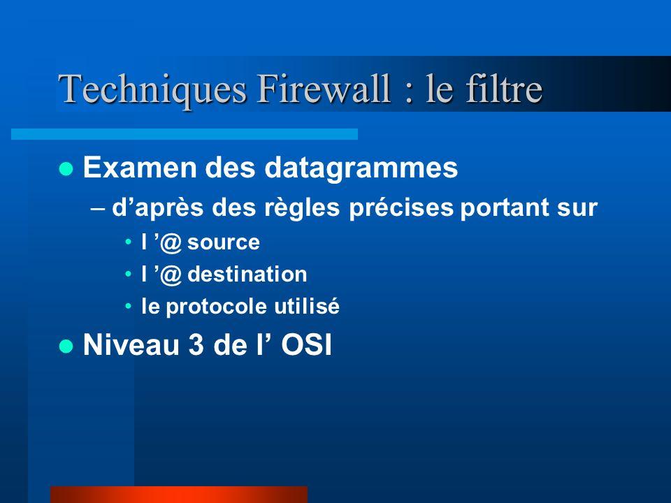 Techniques Firewall : le filtre (2) Avantages –Le gain de temps en terme de mise en place du routeur –Le coût généralement faible d un routeur filtrant –Les performances de ces routeurs sont généralement bonnes –Les routeurs filtrants sont transparents aux utilisateurs et aux applications