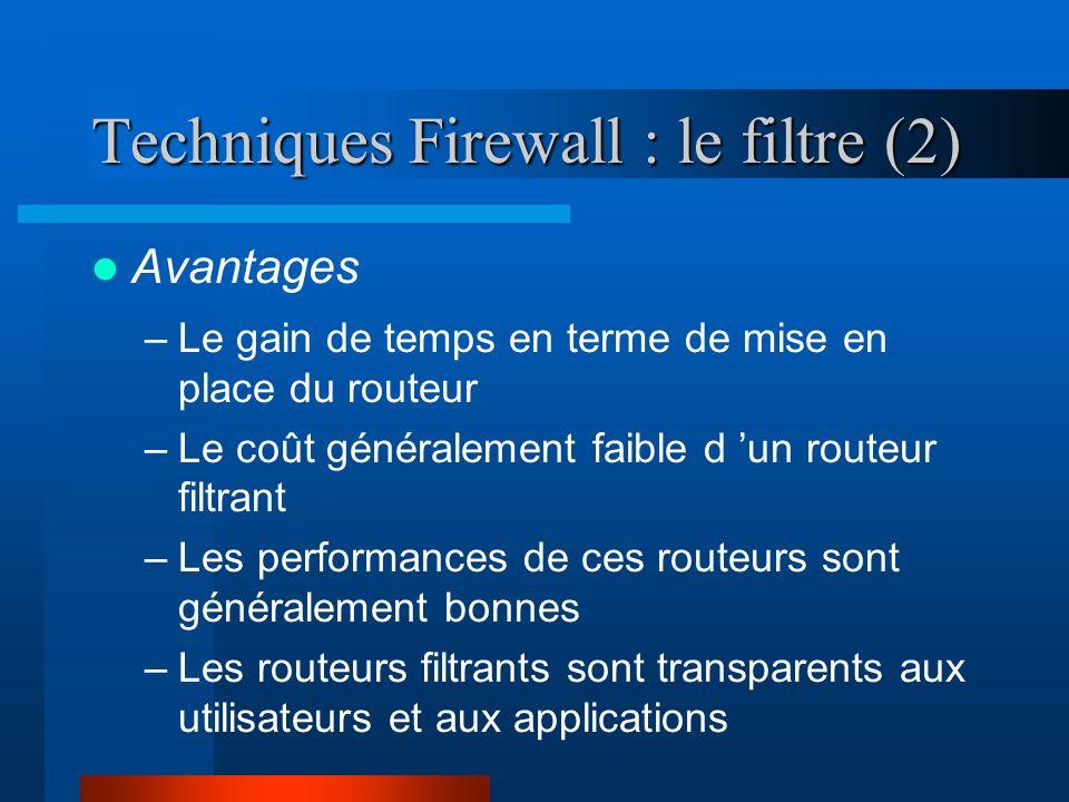 Techniques Firewall : le filtre (3) Inconvénients –L élaboration de règles de filtrage peut être une opération pénible.