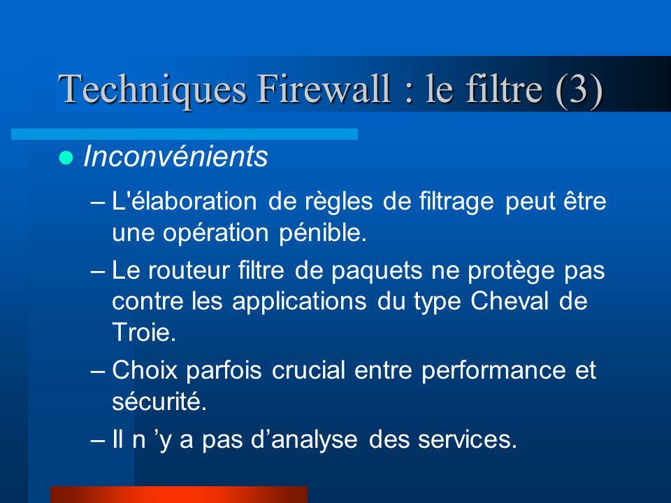 Stratégie : Architectures Firewall Dual-Homed Bastion Host Screened Host Firewall Internet Réseau privé Bastion