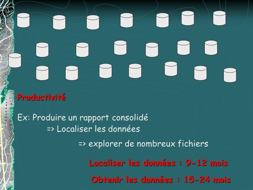 Productivité Ex: Produire un rapport consolidé => Localiser les données Localiser les données : 9-12 mois Obtenir les données : 15-24 mois => explorer