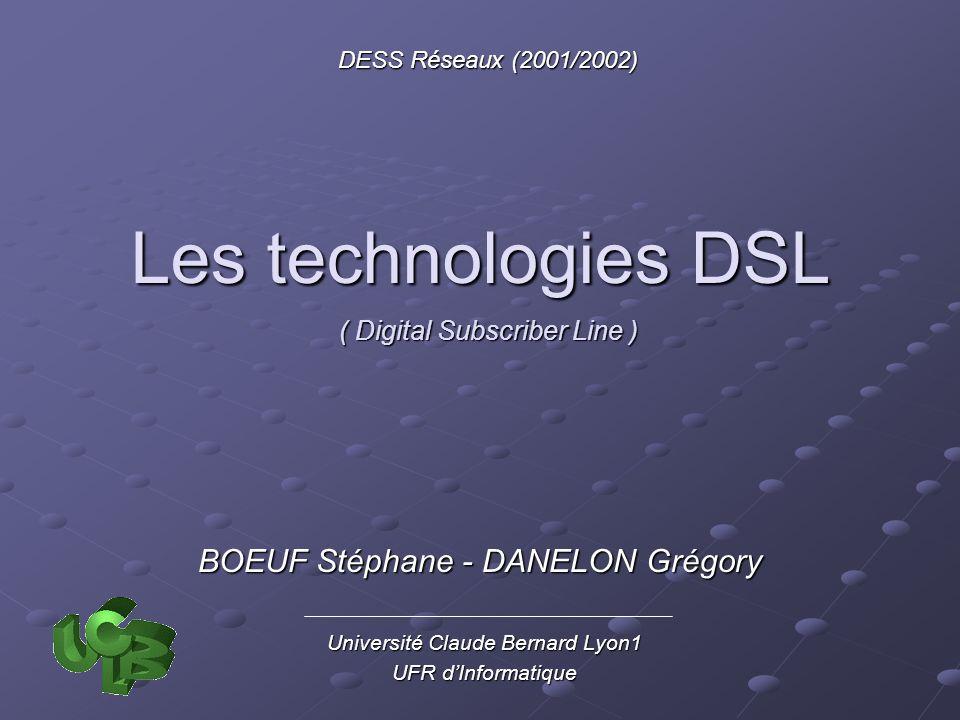 2210/01/2002DESS Réseaux 2001/2002 Les techniques symétriques (1) High bit rate DSL Première technologie DSL déployée (fin 80) Première technologie DSL déployée (fin 80) Parallèlement au développement du 2B1Q Parallèlement au développement du 2B1Q Full-Duplex (débit de 1,5 – 2 Mbits/s sur 2 ou 3 paires) Full-Duplex (débit de 1,5 – 2 Mbits/s sur 2 ou 3 paires) Longue distance (4,5 km) Longue distance (4,5 km) Deux composants spéciaux du DSLAM Deux composants spéciaux du DSLAM Un brouilleur (comme pour les modems analogiques) Légaliseur auto-adaptatif : phase dinitialisation avant léchange de données pour fixer lannulateur décho phase dinitialisation avant léchange de données pour fixer lannulateur décho la mise en place de la technique dégalisation adaptative.