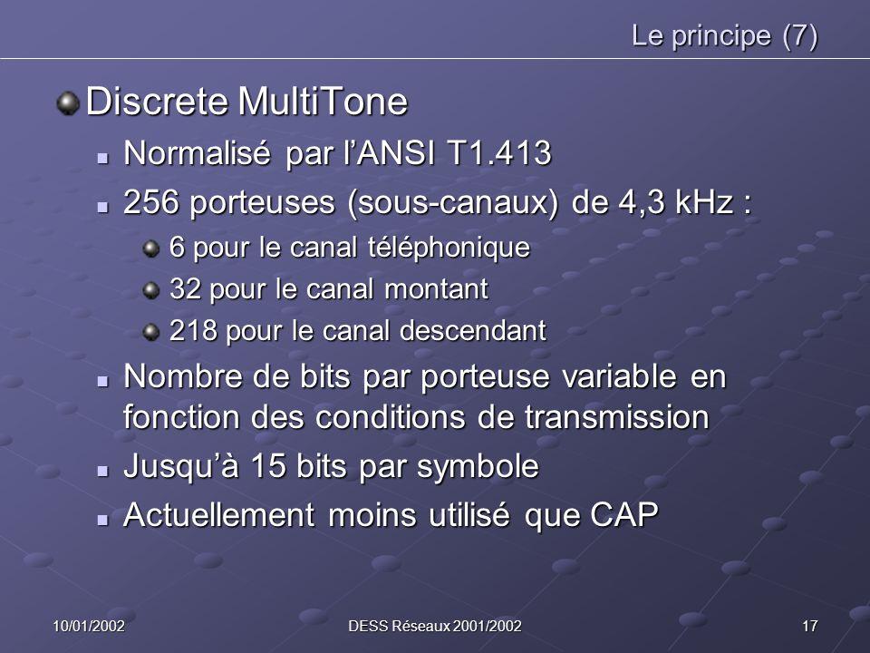 1710/01/2002DESS Réseaux 2001/2002 Le principe (7) Discrete MultiTone Normalisé par lANSI T1.413 Normalisé par lANSI T1.413 256 porteuses (sous-canaux) de 4,3 kHz : 256 porteuses (sous-canaux) de 4,3 kHz : 6 pour le canal téléphonique 6 pour le canal téléphonique 32 pour le canal montant 32 pour le canal montant 218 pour le canal descendant 218 pour le canal descendant Nombre de bits par porteuse variable en fonction des conditions de transmission Nombre de bits par porteuse variable en fonction des conditions de transmission Jusquà 15 bits par symbole Jusquà 15 bits par symbole Actuellement moins utilisé que CAP Actuellement moins utilisé que CAP