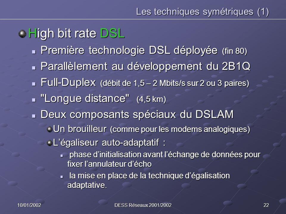 2210/01/2002DESS Réseaux 2001/2002 Les techniques symétriques (1) High bit rate DSL Première technologie DSL déployée (fin 80) Première technologie DS