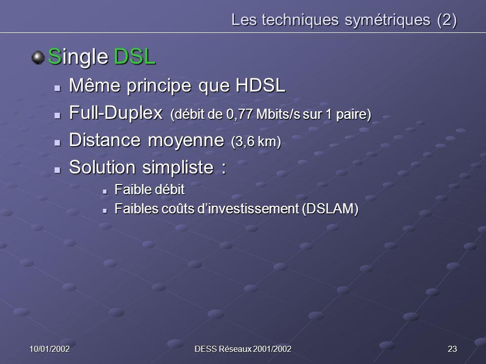 2310/01/2002DESS Réseaux 2001/2002 Les techniques symétriques (2) Single DSL Même principe que HDSL Même principe que HDSL Full-Duplex (débit de 0,77 Mbits/s sur 1 paire) Full-Duplex (débit de 0,77 Mbits/s sur 1 paire) Distance moyenne (3,6 km) Distance moyenne (3,6 km) Solution simpliste : Solution simpliste : Faible débit Faible débit Faibles coûts dinvestissement (DSLAM) Faibles coûts dinvestissement (DSLAM)
