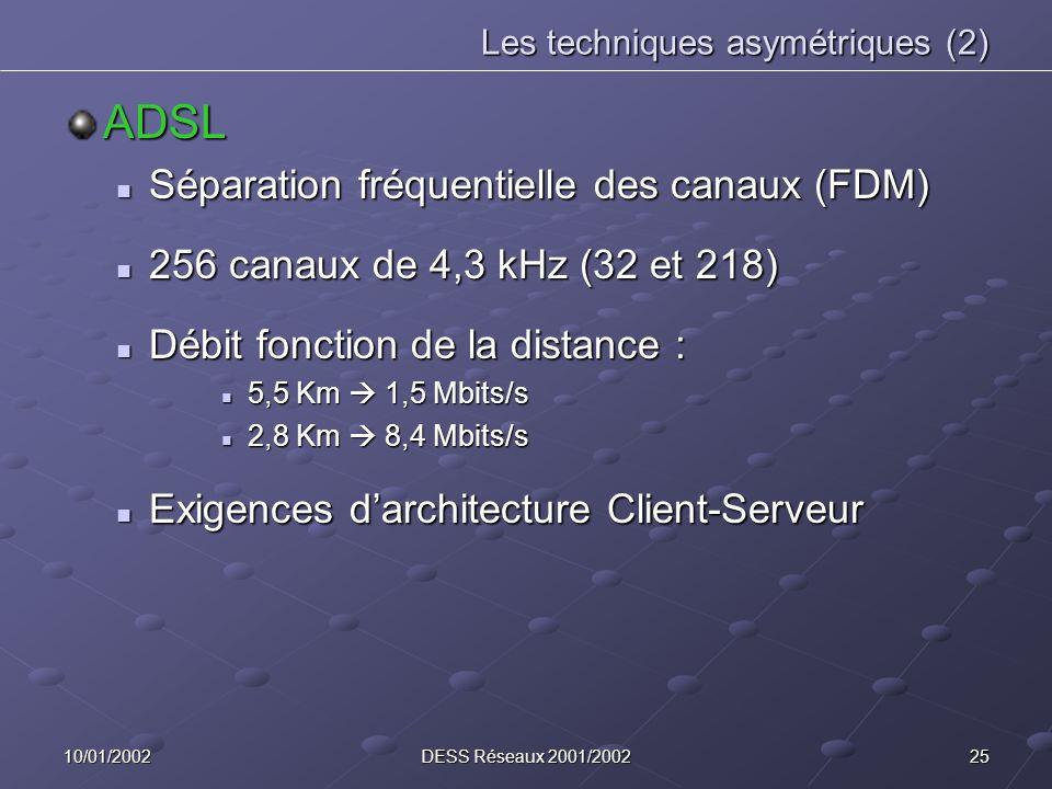 2510/01/2002DESS Réseaux 2001/2002 Les techniques asymétriques (2) ADSL Séparation fréquentielle des canaux (FDM) Séparation fréquentielle des canaux (FDM) 256 canaux de 4,3 kHz (32 et 218) 256 canaux de 4,3 kHz (32 et 218) Débit fonction de la distance : Débit fonction de la distance : 5,5 Km 1,5 Mbits/s 5,5 Km 1,5 Mbits/s 2,8 Km 8,4 Mbits/s 2,8 Km 8,4 Mbits/s Exigences darchitecture Client-Serveur Exigences darchitecture Client-Serveur