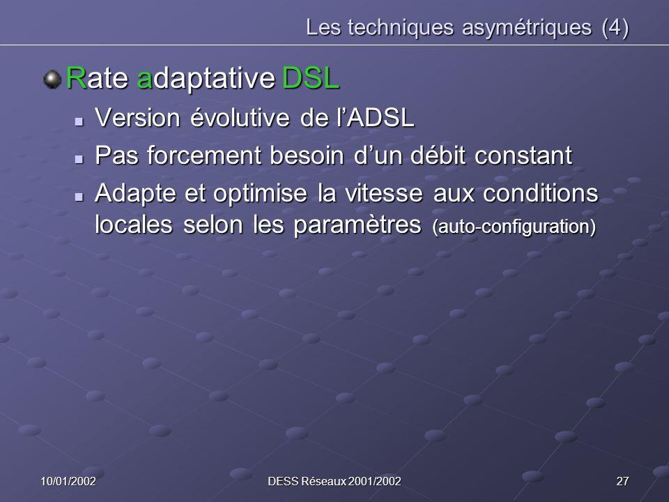 2710/01/2002DESS Réseaux 2001/2002 Les techniques asymétriques (4) Rate adaptative DSL Version évolutive de lADSL Version évolutive de lADSL Pas force
