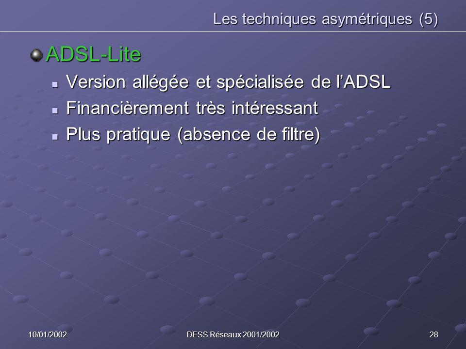 2810/01/2002DESS Réseaux 2001/2002 Les techniques asymétriques (5) ADSL-Lite Version allégée et spécialisée de lADSL Version allégée et spécialisée de