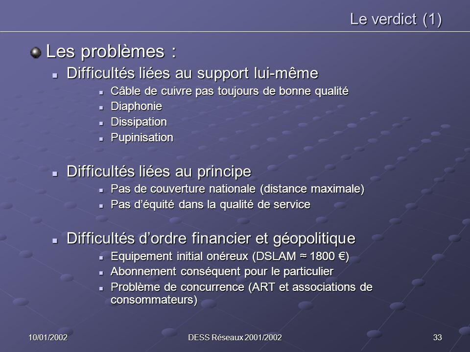 3310/01/2002DESS Réseaux 2001/2002 Le verdict (1) Les problèmes : Difficultés liées au support lui-même Difficultés liées au support lui-même Câble de