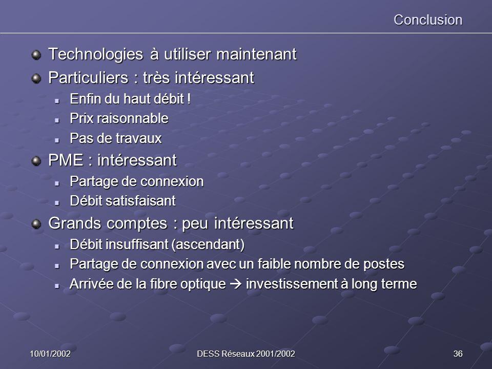 3610/01/2002DESS Réseaux 2001/2002 Conclusion Technologies à utiliser maintenant Particuliers : très intéressant Enfin du haut débit ! Enfin du haut d