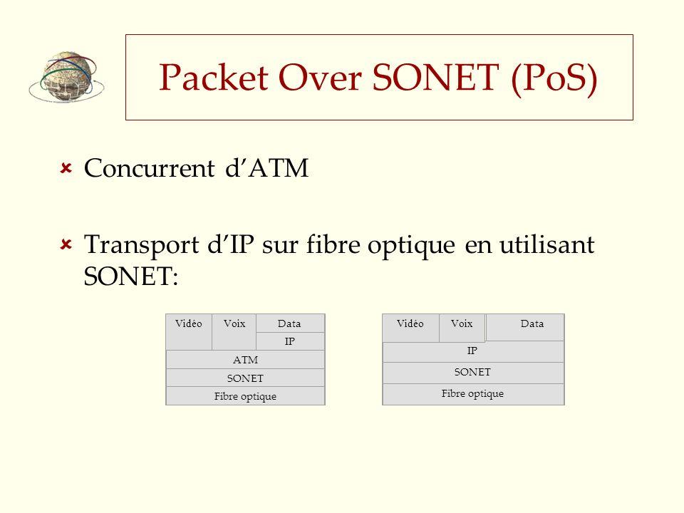 Packet Over SONET (PoS) Concurrent dATM Transport dIP sur fibre optique en utilisant SONET: Voix Data IP ATM SONET Fibre optique Vidéo Data IP SONET Fibre optique VoixVidéo