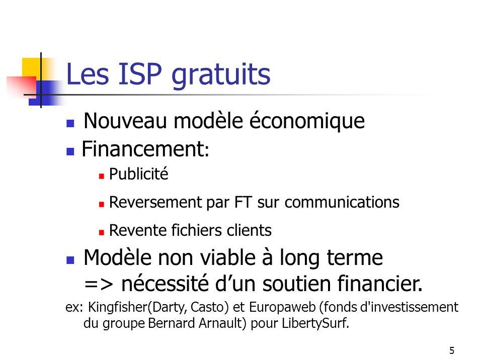 5 Les ISP gratuits Nouveau modèle économique Modèle non viable à long terme => nécessité dun soutien financier.