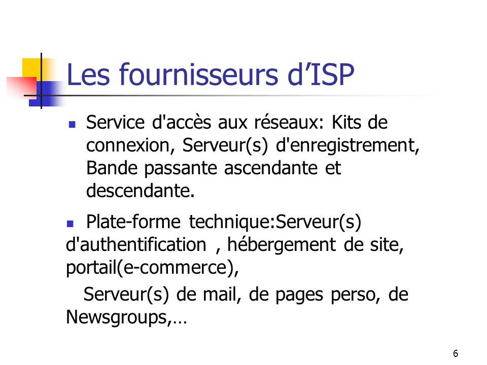 6 Les fournisseurs dISP Service d accès aux réseaux: Kits de connexion, Serveur(s) d enregistrement, Bande passante ascendante et descendante.