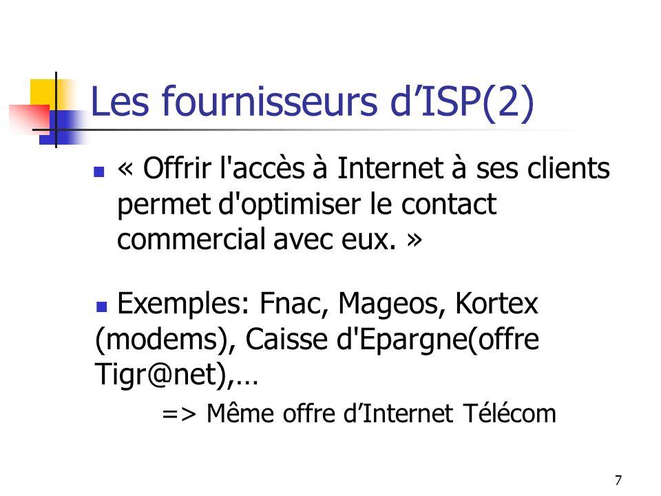 6 Les fournisseurs dISP Service d'accès aux réseaux: Kits de connexion, Serveur(s) d'enregistrement, Bande passante ascendante et descendante. Plate-f