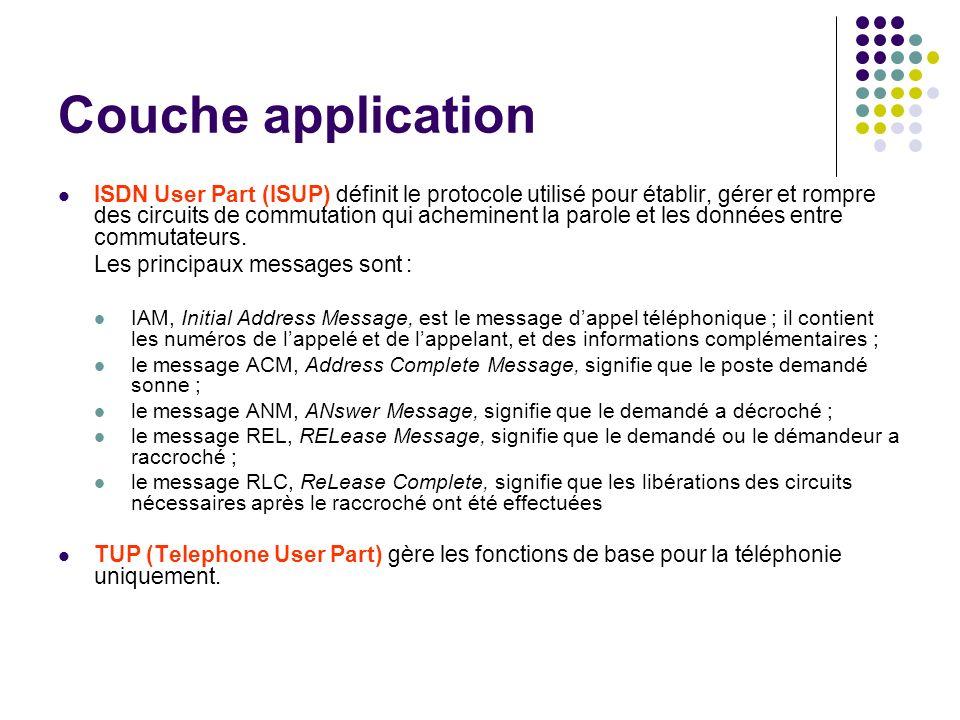 Couche application ISDN User Part (ISUP) définit le protocole utilisé pour établir, gérer et rompre des circuits de commutation qui acheminent la paro